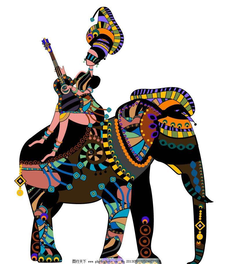 手绘花纹 乐器 少数民族 大象 花纹 花边 布纹 方块 圆点 潮流装饰画