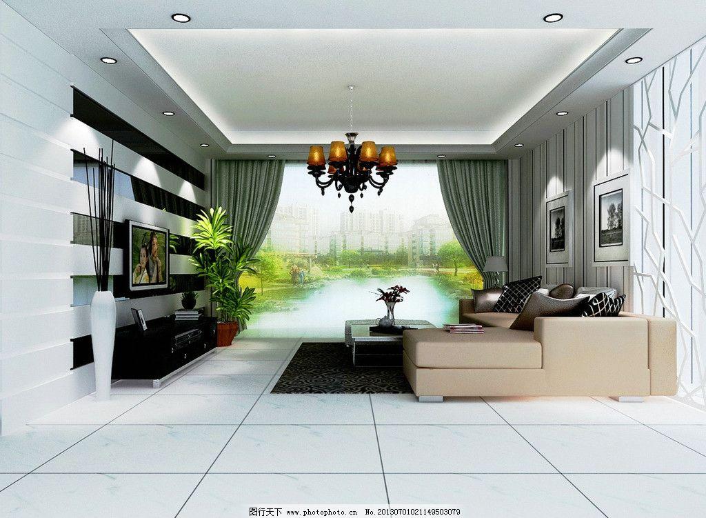 客厅效果图 电视墙             吊顶 沙发背景 3d作品 3d设计 设计 7