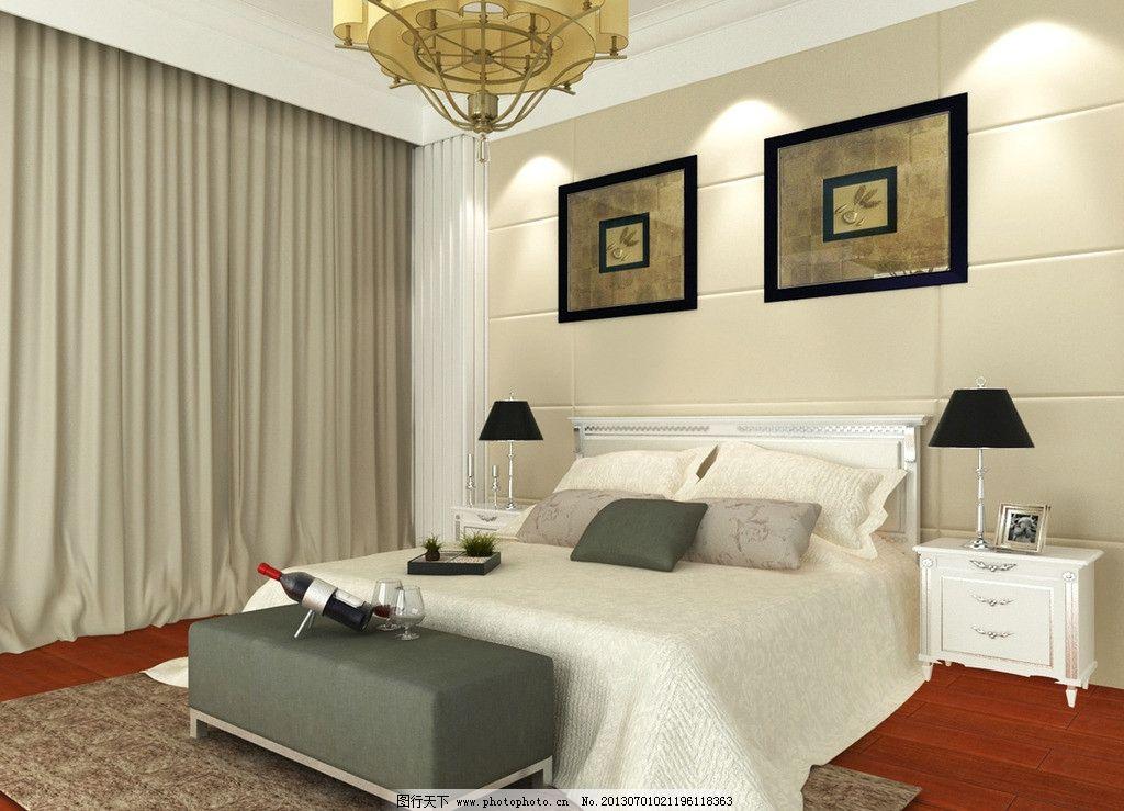 卧室效果图             床头背景      3d 3d作品 3d设计 设计 72dpi