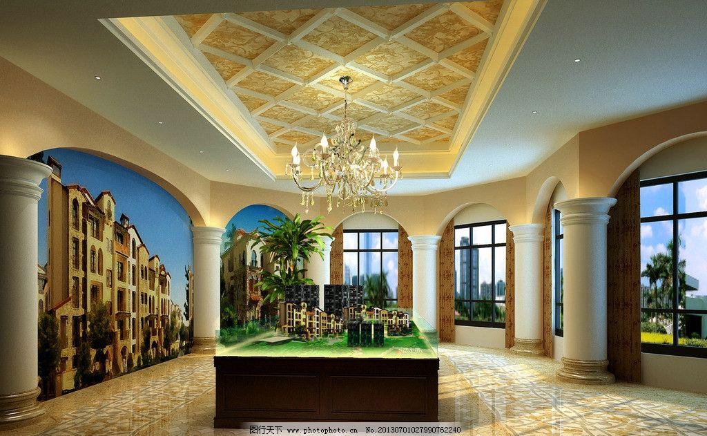设计图库 环境设计 室内设计  售楼会所效果图 欧式售楼中心效果图