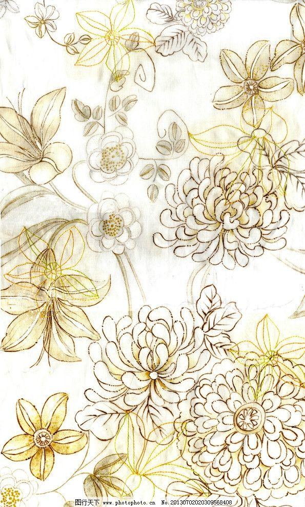 服装 花纹 布料 手绘 花卉 植物 单独纹样 花草 组合 纺织品 面料