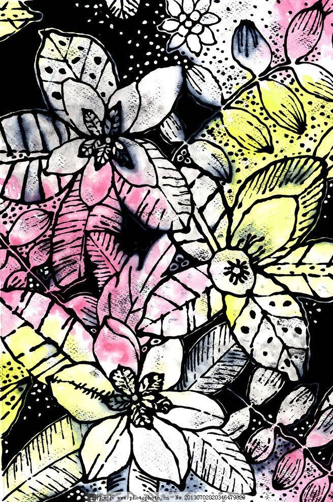 服装 花纹 布料 手绘 花卉 植物 单独纹样 花草 组合 纺织品