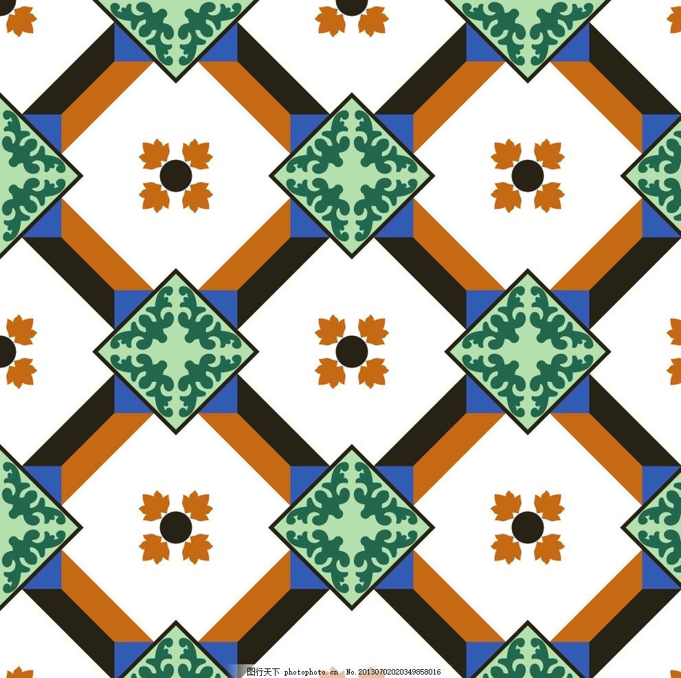 几何现代图案花纹 二方连续 单独 四方连续 底纹 花卉设计元素素材图片