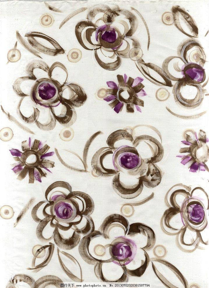 手绘水彩 花卉植物 纺织品面料设计 素材 服装面料图案四方连续 花边