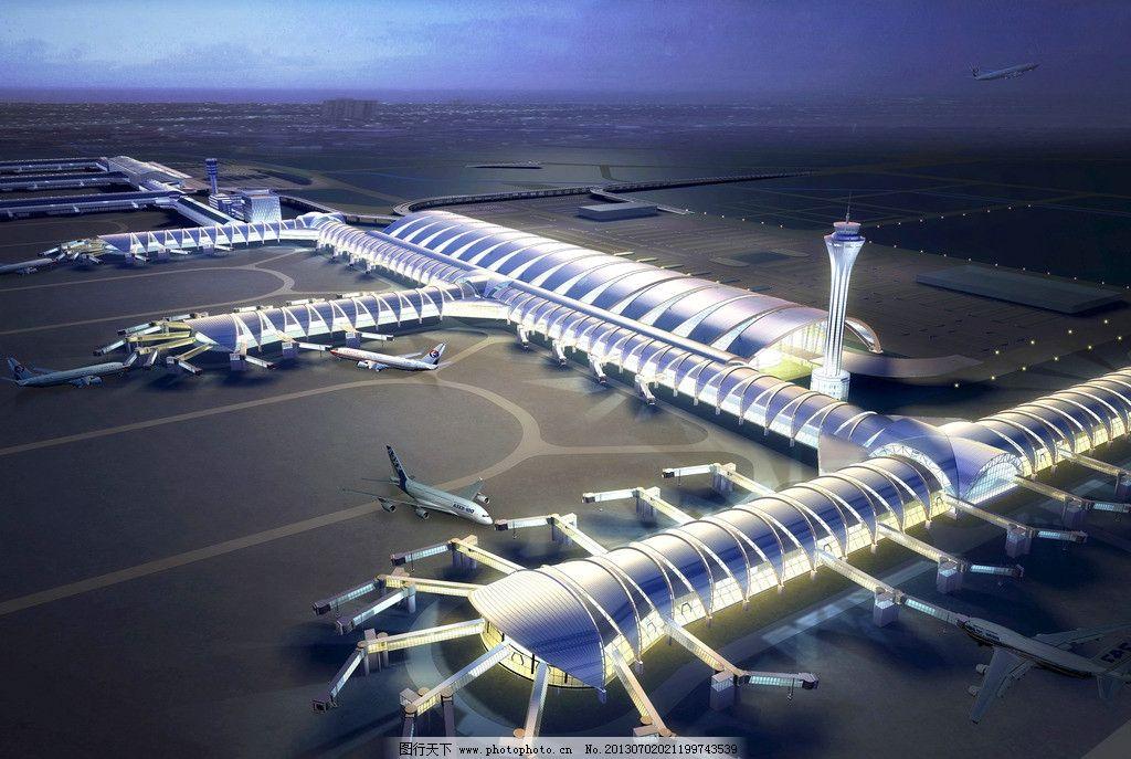 双流机场 飞机起飞 机场跑道 机场效果图 航站楼夜景 3d作品 3d设计
