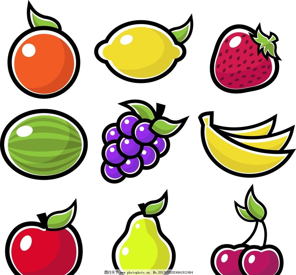 水果矢量素材 水果模板下载 苹果 草莓 西瓜 桔子 香蕉 梨子图片