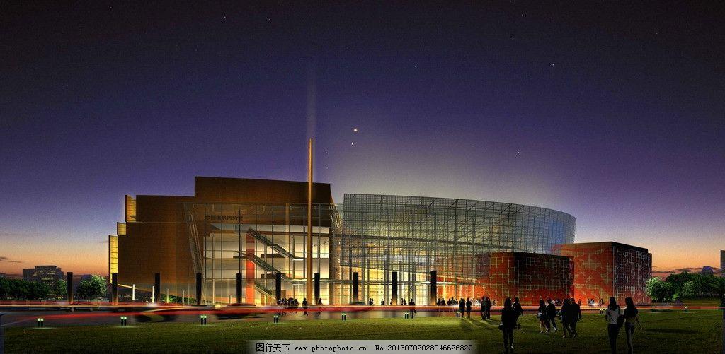中国电影博物馆        渲染图 室外 夜晚 灯光 建筑设计 环境设计 源图片