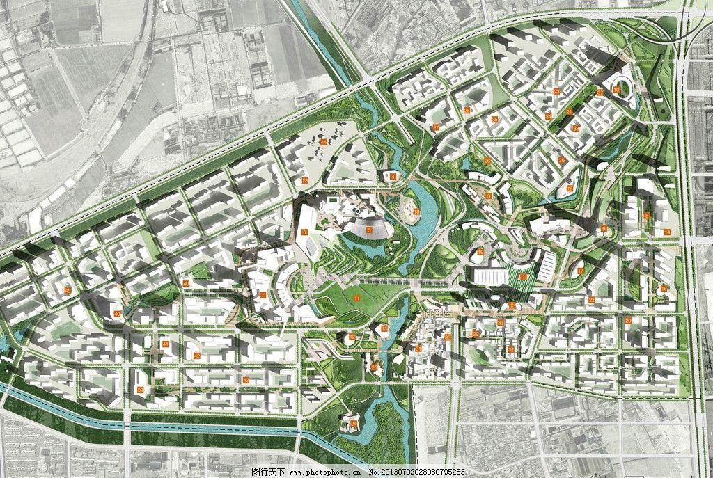 新城城市设计 新城 城市设计 总平面 素模 开放水面 建筑设计 环境