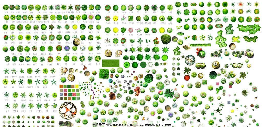 手绘平面树 水彩灌木 平面素材 水彩草地 手绘灌木 平面素材素材下载