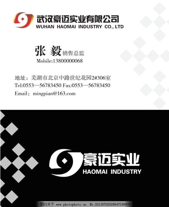 黑白色方块点名片 简洁 两色 豪迈实业 销售 总监 世纪花园 实业公司图片