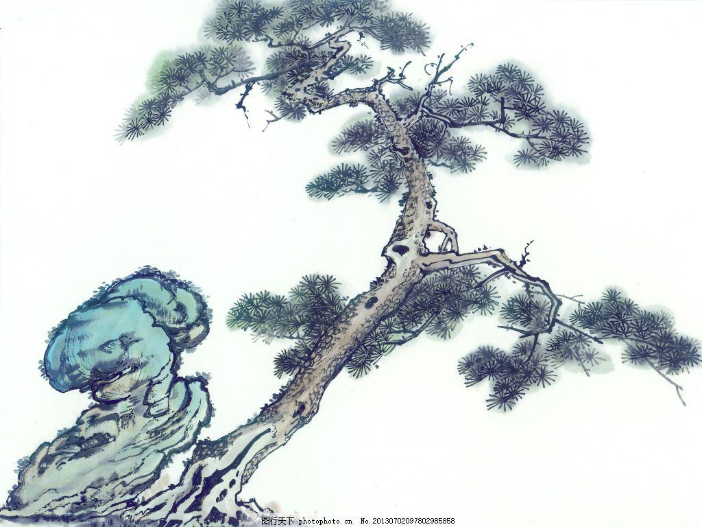 松树仙鹤纹身手稿