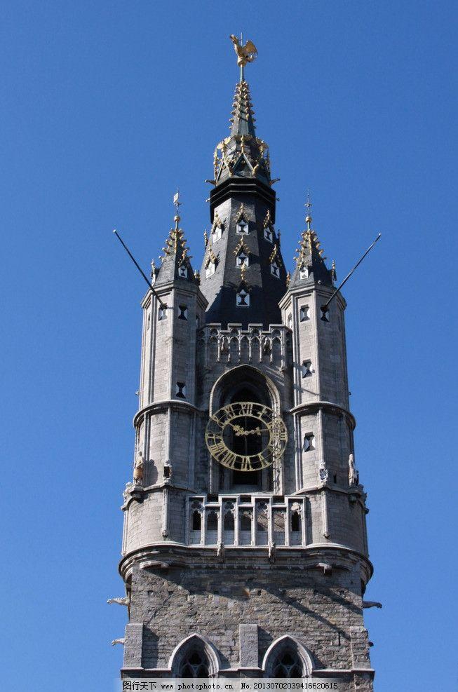 摄影图库 建筑园林 建筑摄影  比利时 根特 钟楼 教堂建筑 哥特式风格图片