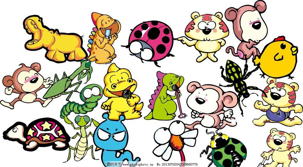 卡通图案 猴子 老虎 乌龟 小鸡 卡通 昆虫 动物 卡通设计 广告设计