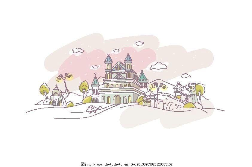 可爱手绘城堡 城市 手绘 场景 建筑 街景 城堡 卡通城堡 卡通设计