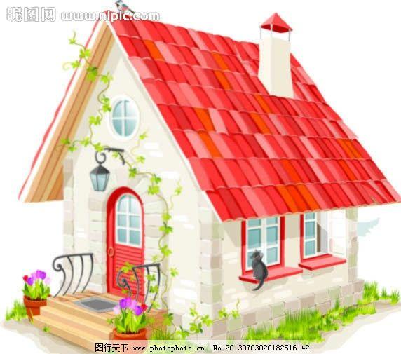 小房子 卡通可爱房子 卡通 房子 城堡 草地 小鸟 花朵 卡通设计 广告