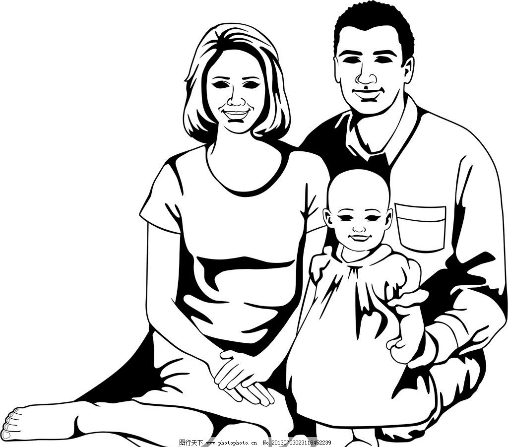 关于家庭和谐的手绘画