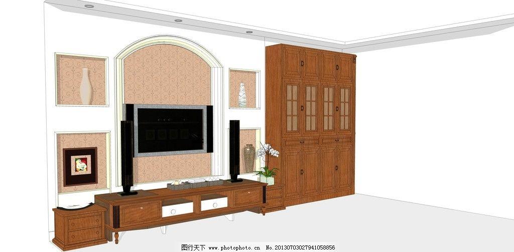 欧式电视背景墙 欧式 电视背景墙 草图大师 透视图 褐色 室内设计
