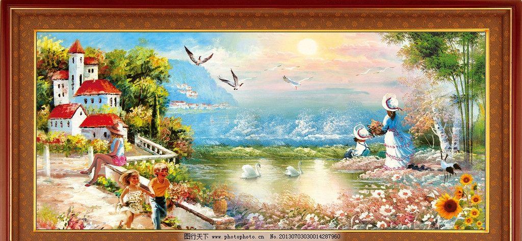 山水画 伦敦 英式油画 园林风景 海滩 海鸥 山水瀑布 松鹤延年 水彩画