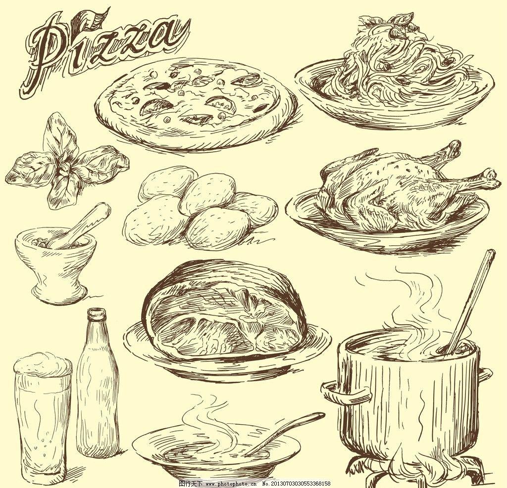 食物 矢量 线条 素描 简笔画 美食 烧鸡 披萨 卡通 源文件