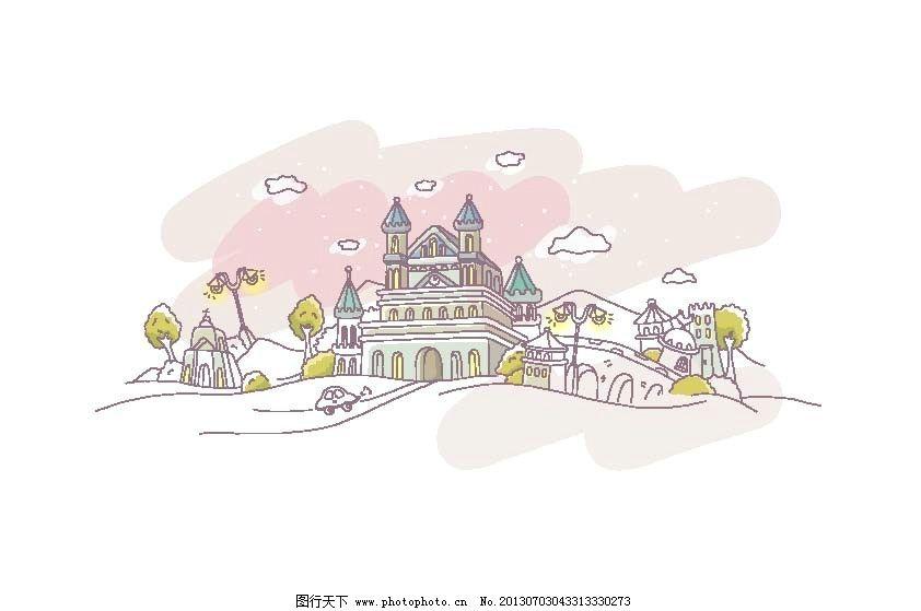 可爱手绘城堡图片_ppt图表_ppt_图行天下图库