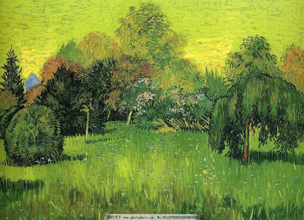 梵高绿色系风景画