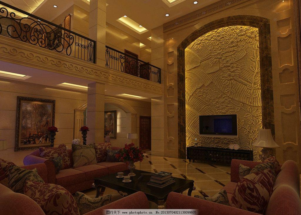 欧式客厅 电视背景 沙发 楼中楼 别墅