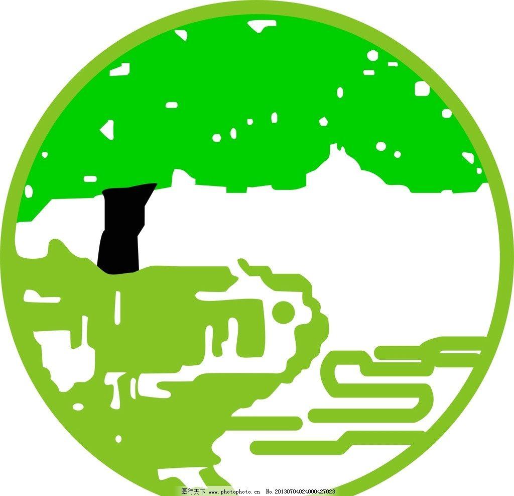 圆形乡村图 树 绿树 树荫 简笔画 房屋 写意 矢量 可换色 自然风景