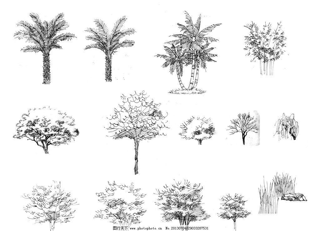 手绘线稿 中景树 远景树 中远景树 树木剪影 树木素材 园林景观手绘