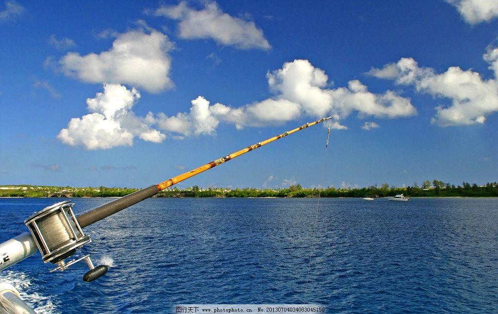 海上垂钓 蓝天 白云 鱼竿 船 游艇 树 海上风景 国外旅游 旅游摄影