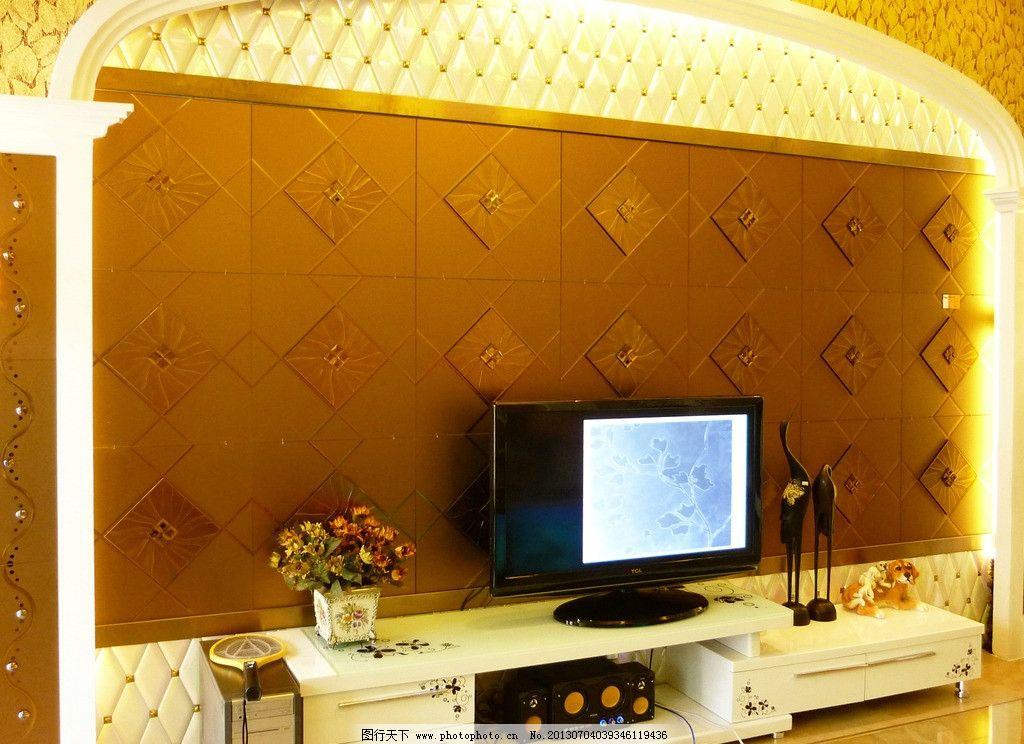 玻璃拼镜电视背景墙 电视墙 欧式 经典 电视机 室内 室内摄影