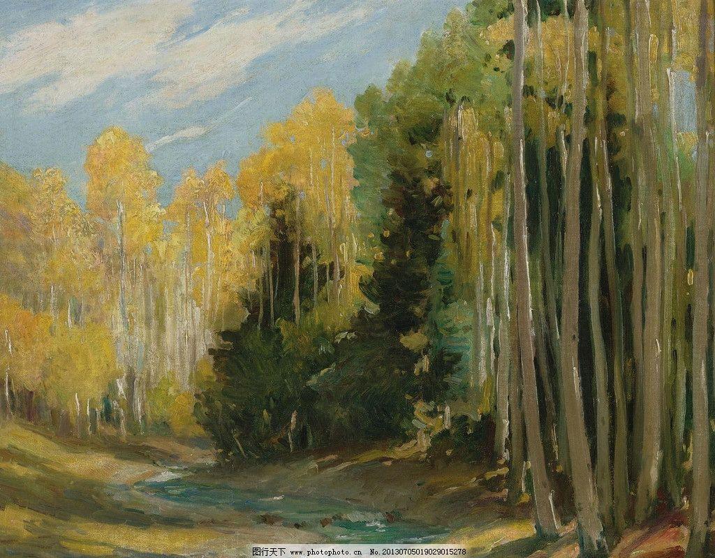 森林油画 森林 树林 大树 自然 绿树 风光画 风景画 山水画 油画 欧洲