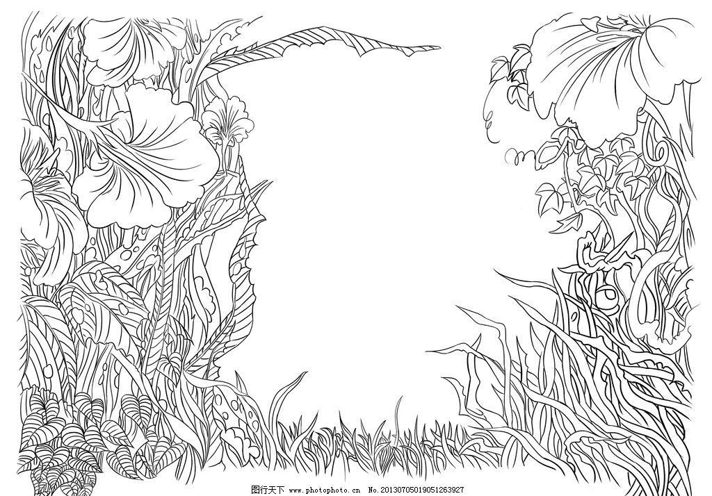 白描植物 白描 线描 线稿 手绘 植物 绘画书法 文化艺术 设计 300dpi