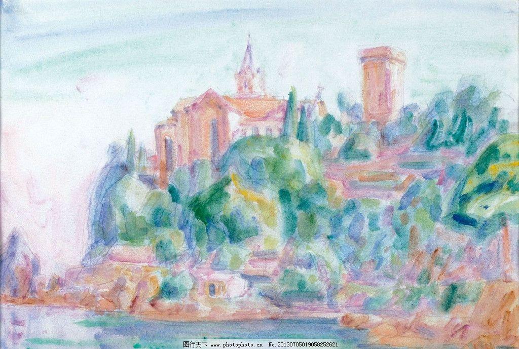 水彩手绘 布拉格城堡