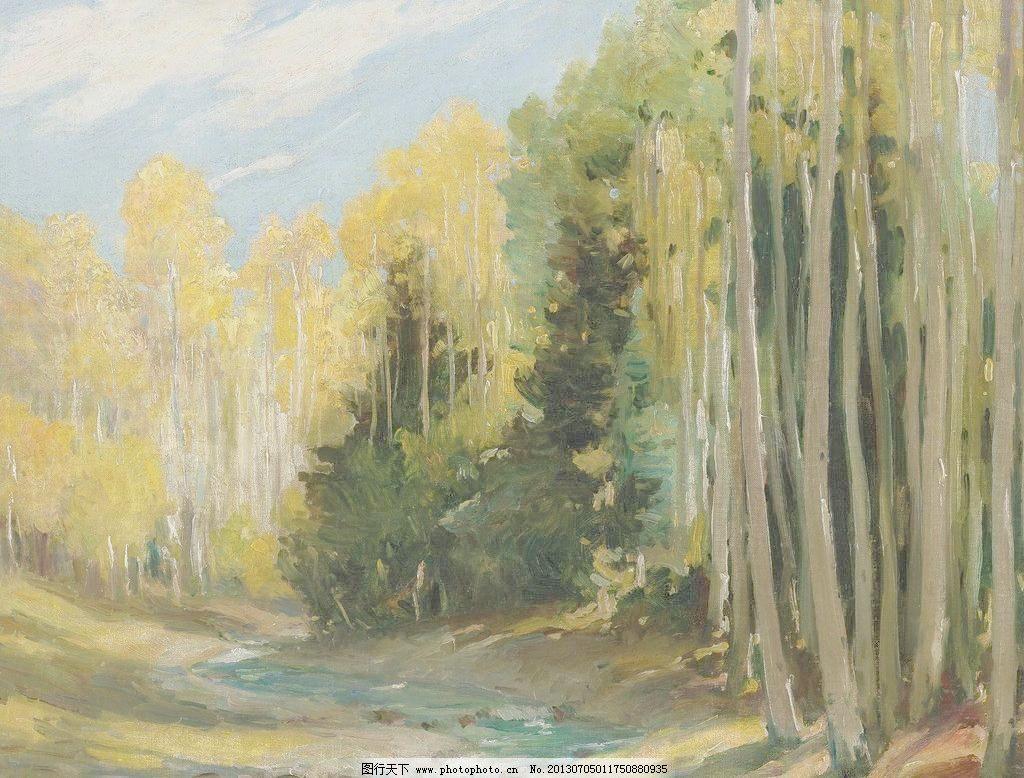 森林油画图片