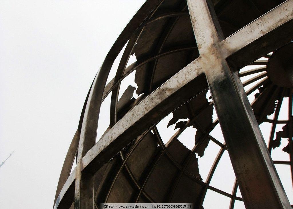地球雕塑 钢结构 框架 雕塑 地球雕塑局部 圆形雕塑 建筑园林 摄影 72
