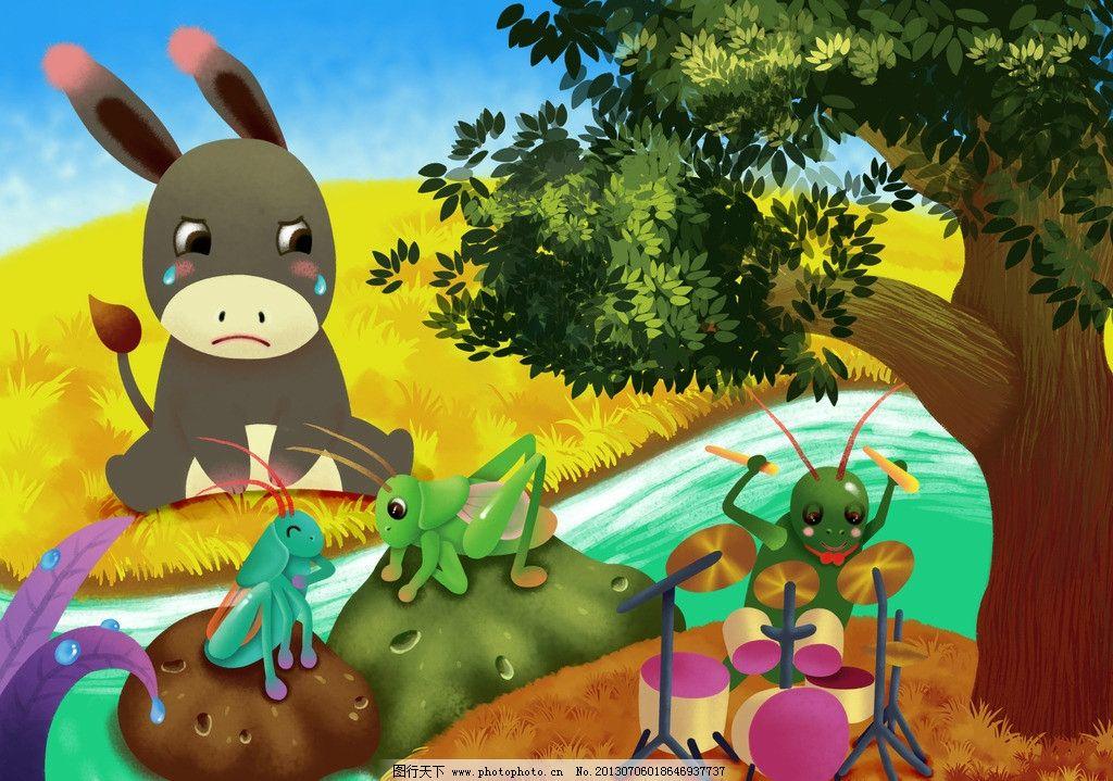 动画场景 兔子 大树 树叶 蟋蟀 昆虫 动物 小河 河流 草地 其他 动漫