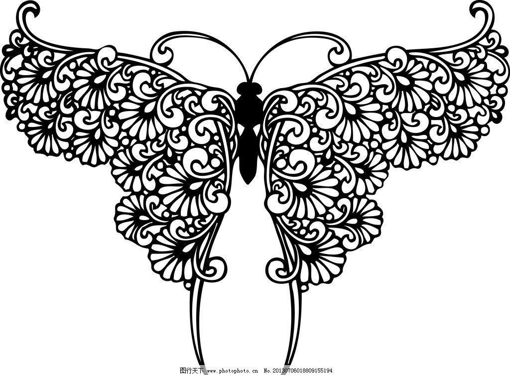 黑白蝴蝶-风筝图案矢量图
