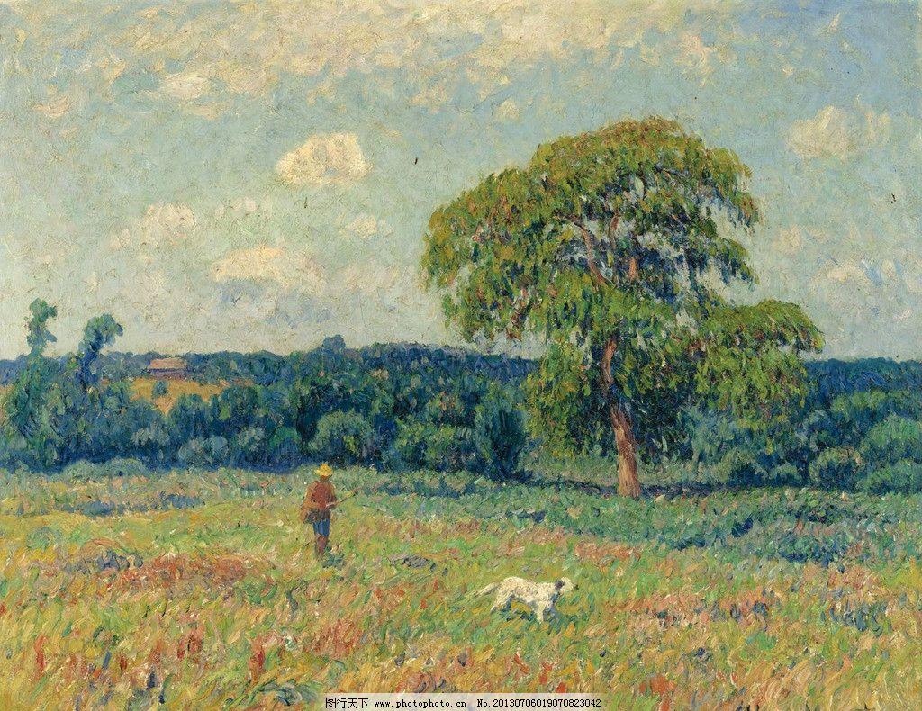 草原油画 草原 草地 绿地 大树 树林 森林 田园 自然风光 自然美景