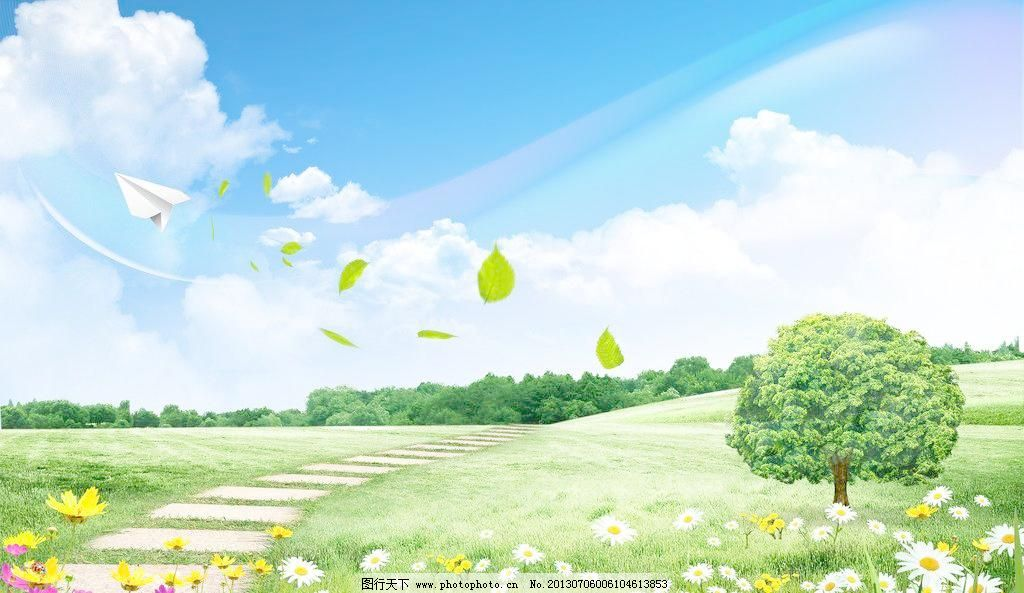 白花 黄色 绿色 风景宜人 优美风景 秀丽风景 山水画 春天 夏天 背景