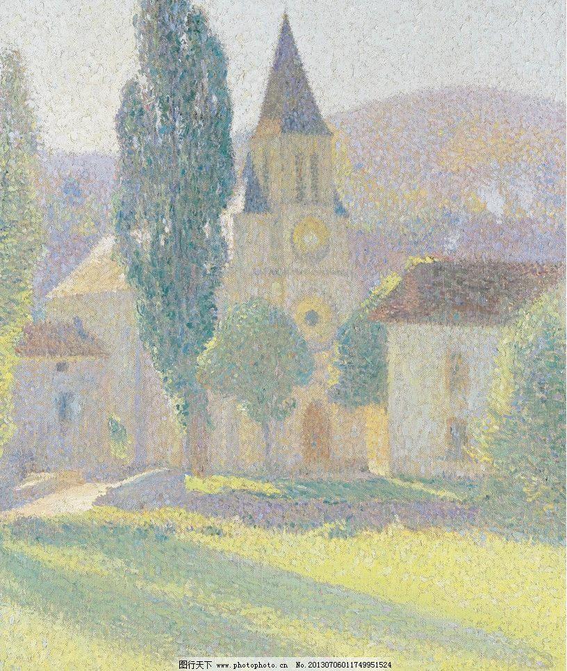 乡村田园油画 壁画 草地 房屋 房子 风光 风景 风景画 绘画书法