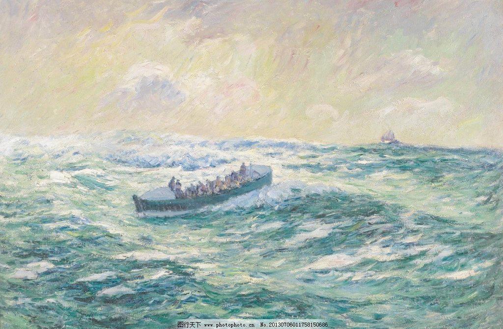 海上渔船油画 壁画 乘风破浪 大海 风光 风景 风景画 海浪 海洋
