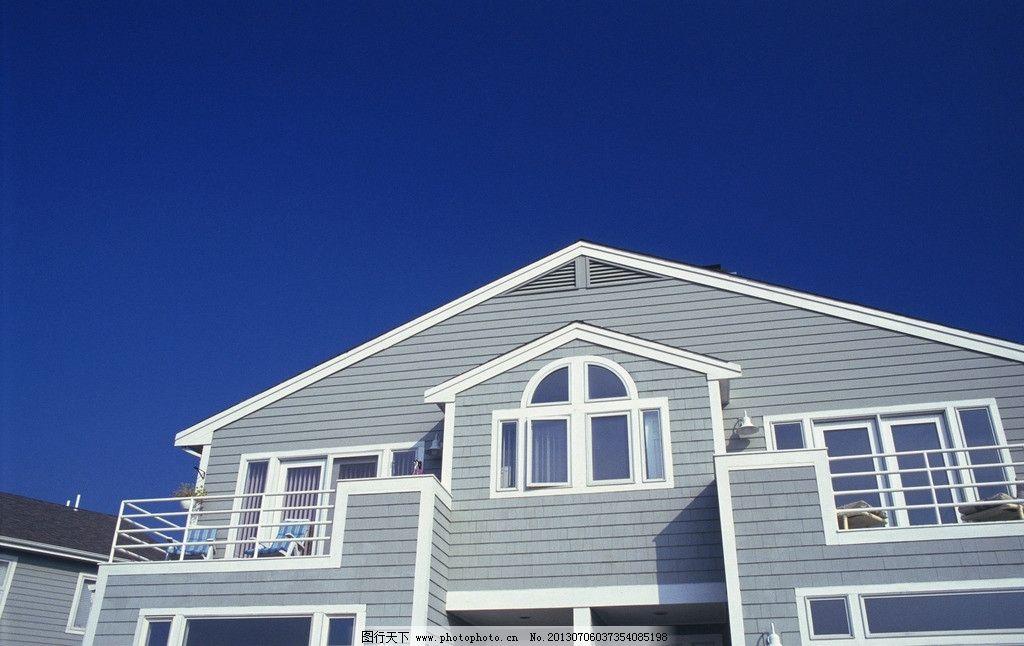 房屋素材 建筑 屋顶 天空 蓝天 窗户 门窗 玻璃 阴影 影子图片