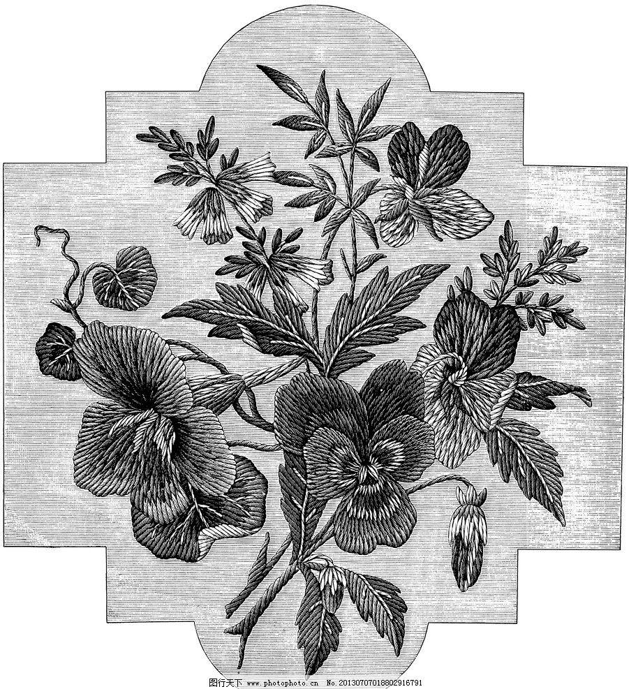 黑白花边植物纹样线条 花卉 服装边饰 刺绣图案