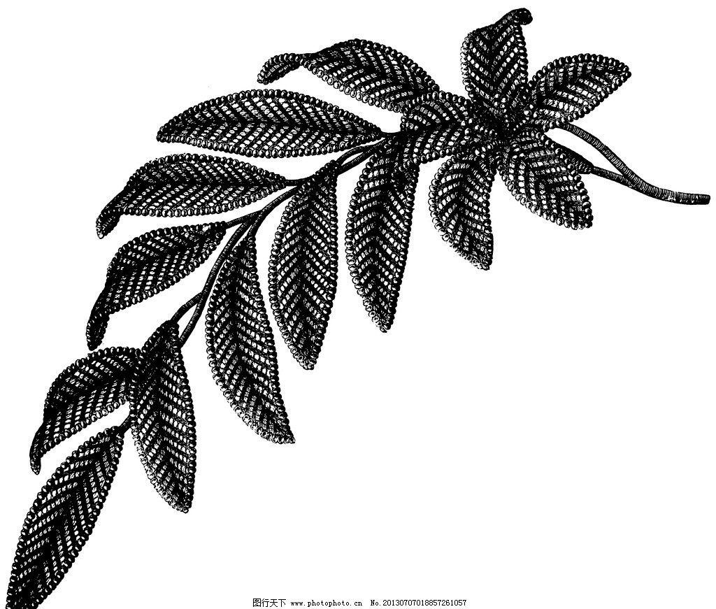 黑白花边植物纹样线条 黑白 花边 植物 纹样 线条 花卉 服装边饰 刺绣