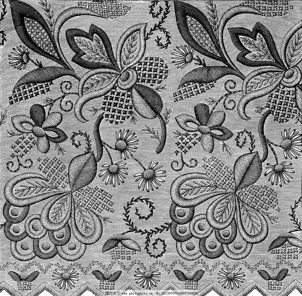 底纹边框 黑白花边植物纹样线条花卉