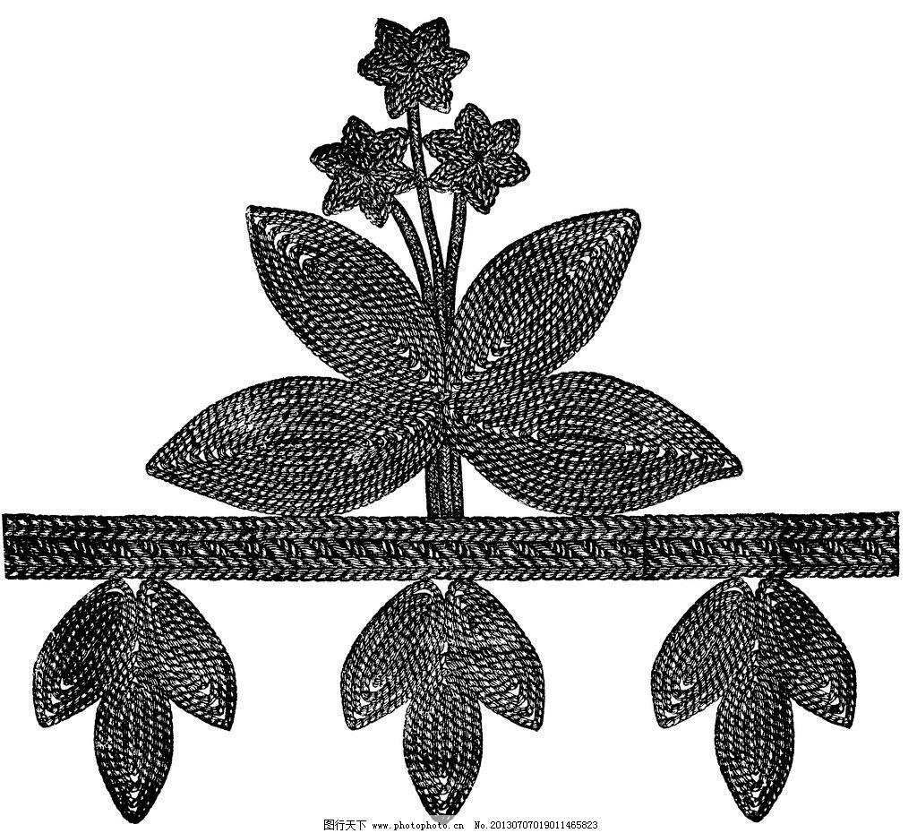 黑白 花边 植物 纹样 线条 花卉 服装边饰 刺绣图案 底纹边框 黑白