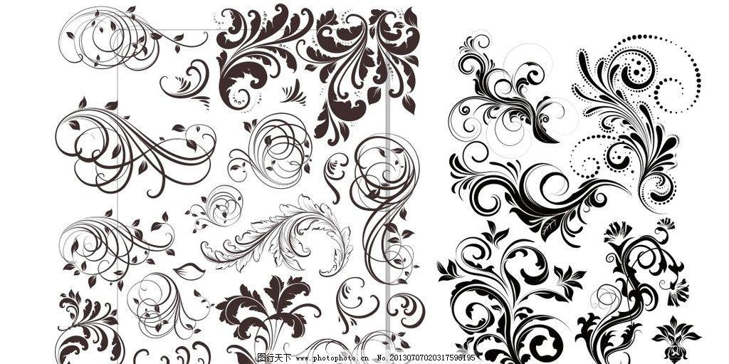 植物花纹 花纹 图案 背景 底版 黑白 边框 花纹花边 底纹边框 矢量 cd