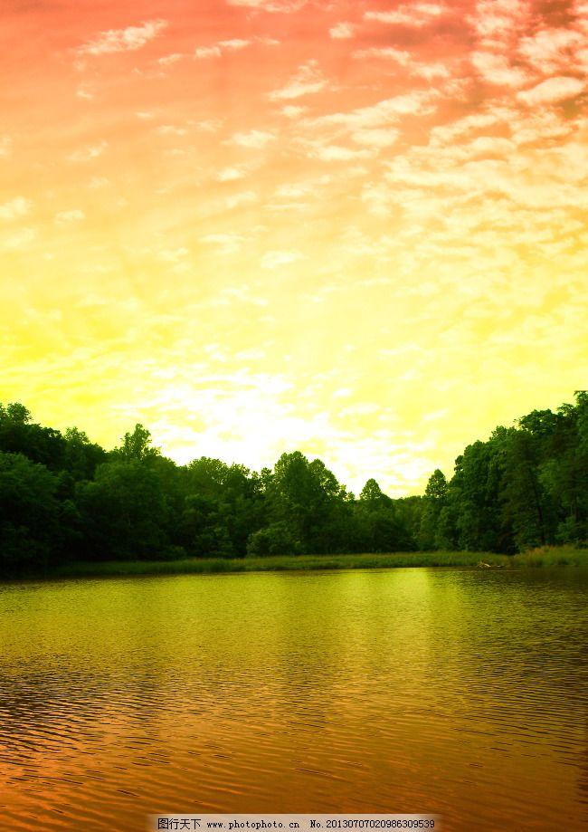 天空 湖水 天空免费下载 白云 风景 高清 林木 森林 图片素材