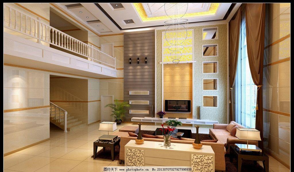 复式客厅 别墅      复式楼        电视背景 窗户 室内设计 环境设计