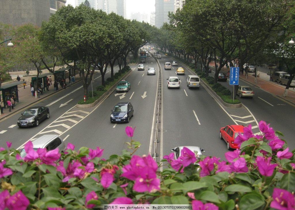 马路 广州 街道 建筑 休闲 树木花草 公路 汽车 建筑景观 国内旅游 旅